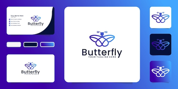 Projeto de inspiração animal da borboleta com estilo de linha moderno e cartão de visita
