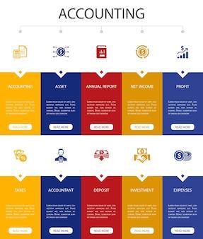 Projeto de interface do usuário da opção de infográfico de contabilidade 10. conjunto, relatório anual, receita líquida, ícones simples de contador