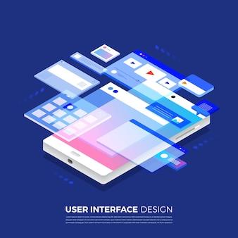 Projeto de interface do usuário do conceito de ilustrações isométricas ui / ux