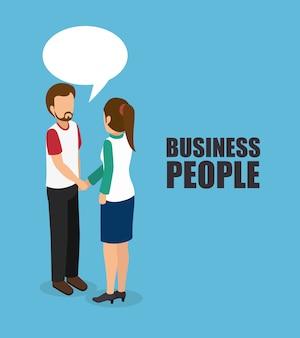 Projeto de isometrics de pessoas de negócios