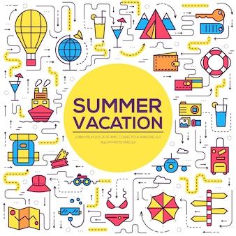 Projeto de itens de ícones de infográfico de viagens de verão