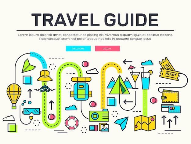 Projeto de itens de ícones de infográfico de viagens