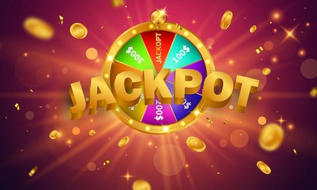Projeto de jackpot de banner de cassino decorado com moedas de sinal de prêmio de jogo brilhantes douradas.