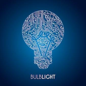Projeto de lâmpadas sobre ilustração vetorial de fundo azul