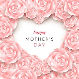 Projeto de layout de cartão de feliz dia das mães com rosas