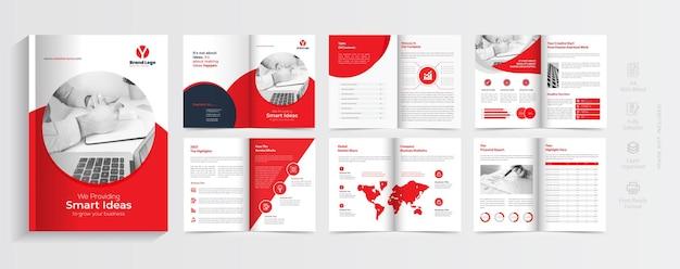 Projeto de layout de modelo de folheto de perfil corporativo da empresa com forma de cor vermelha