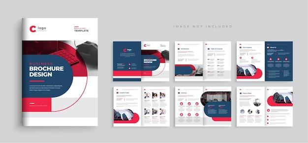 Projeto de layout de modelo de folheto de perfil da empresa desgn de modelo de folheto de negócios com várias páginas