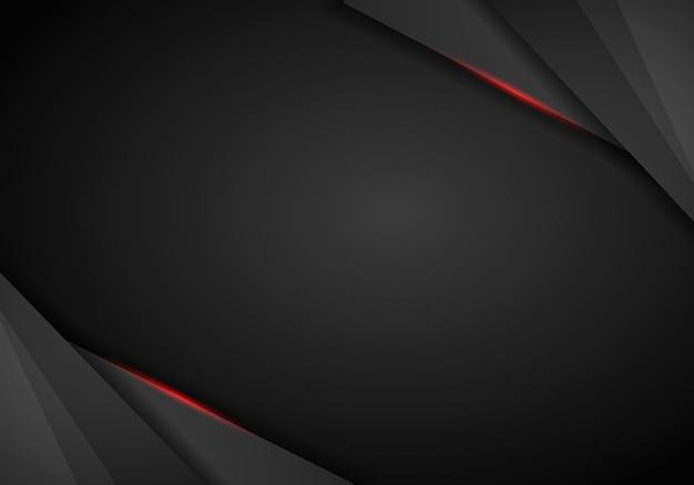 Projeto de layout de quadro preto vermelho metálico abstrato