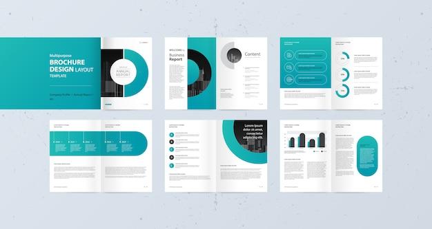 Projeto de layout para o relatório anual de perfil de empresa e modelo de folhetos