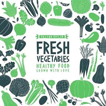 Projeto de legumes desenhado mão dos desenhos animados. estilo linogravura. comida saudável. ilustração vetorial