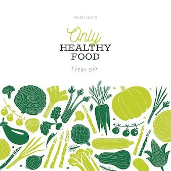 Projeto de legumes desenhado mão dos desenhos animados. fundo de alimentos. estilo linogravura. comida saudável. ilustração vetorial