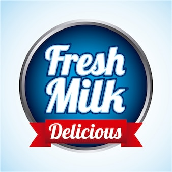 Projeto de leite sobre ilustração vetorial de fundo azul