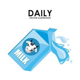Projeto de leite sobre ilustração vetorial de fundo branco