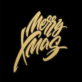 Projeto de letras de glitter dourados de feliz natal. cartão de natal, cartaz, banner. ilustração vetorial eps10