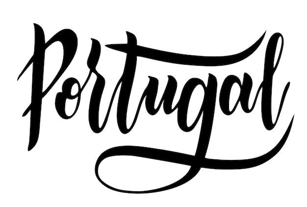 Projeto de letras de tipografia do país de portugal texto de caligrafia de pincel desenhado à mão para cartão de felicitações