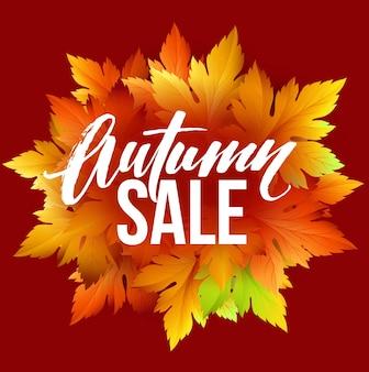 Projeto de letras de venda de outono. folha de outono. etiqueta, modelo de banner. ilustração vetorial eps10