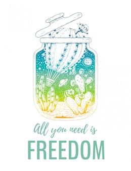 Projeto de liberdade para impressão de t-shirt. a suculenta de cacto se torna um balão de ar para fugir da prisão estreita do frasco de vidro. conceito de design hipster vintage com slogan tudo que você precisa é liberdade.