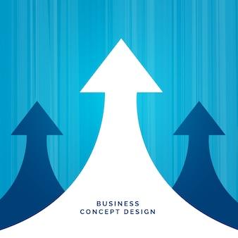 Projeto de liderança de conceito de negócio com seta