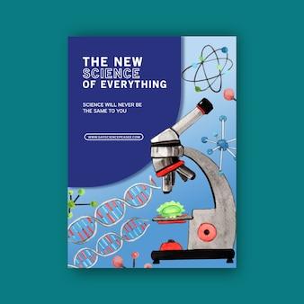 Projeto de livro de capa de ciência com ilustração em aquarela de microscópio.
