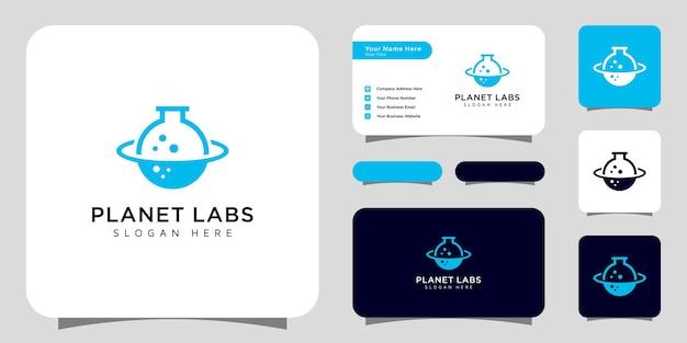 Projeto de logotipo abstrato do laboratório de trabalho de órbita do planeta criativo e cartão de visita Vetor Premium