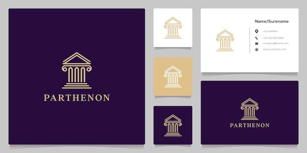 Projeto de logotipo da linha de lei do partenon do pilar do tribunal de justiça