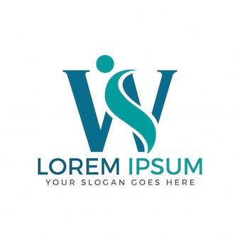 Projeto de logotipo de adoção e comunidade de carta w.
