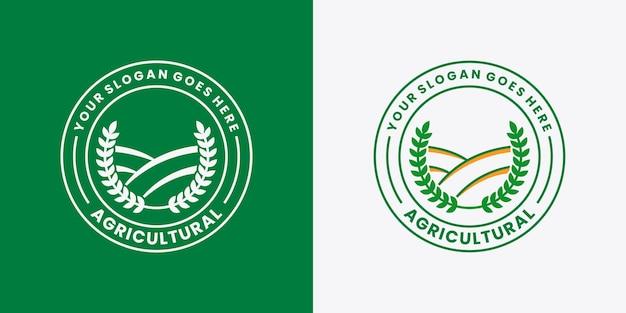 Projeto de logotipo de agricultura crachá de fazenda e fazenda