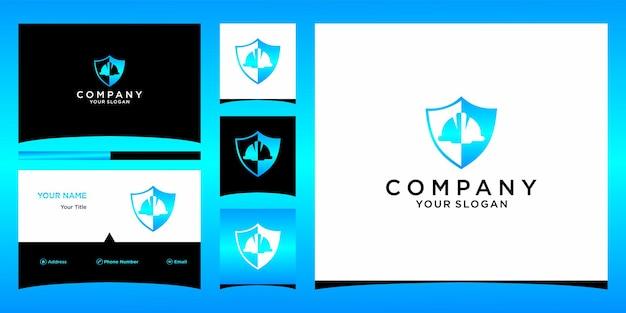 Projeto de logotipo de escudo de trabalho com modelo de cartão de negócios