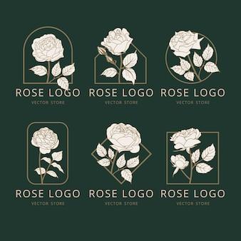Projeto de logotipo de flores rosas vetoriais coleção de logotipo da natureza no conceito de modelo de monograma de estilo linear