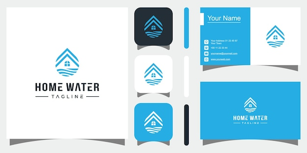 Projeto de logotipo de gota d'água em casa ícone de vetor em casa logotipo premium vector