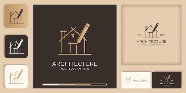 Projeto de logotipo de inspiração de arquitetura, esboço, desenho com caneta e design de cartão de visita