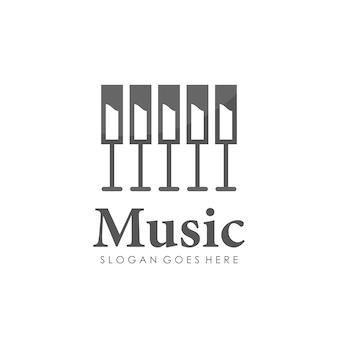 Projeto de logotipo de piano de vinho