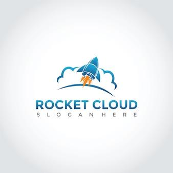 Projeto de logotipo de rocket e cloud