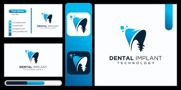 Projeto de logotipo de tecnologia de clínica de implante dentário vetor de logotipo de implante dentário com cartão de visita