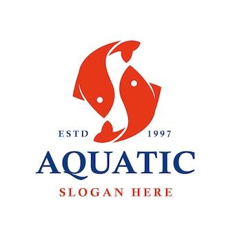 Projeto de logotipo de vetor japonês de peixes aquáticos