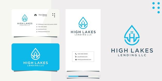 Projeto de logotipo e cartão de visita da letra h da gota d'água