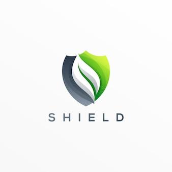 Projeto de logotipo gradiente de folhas de escudo