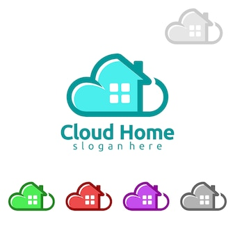 Projeto de logotipo imobiliário em casa em nuvem