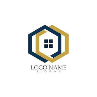 Projeto de logotipo para casa e casa, propriedade e construção