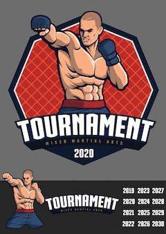 Projeto de lutador de mma para crachá e logotipo