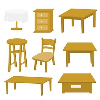 Projeto de madeira do vetor da mobília da cadeira de tabela