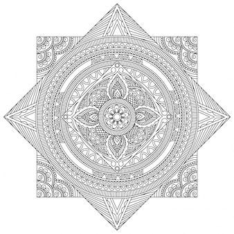 Projeto de mandala detalhado e criativo, padrão oriental floral bonito, elemento decorativo vintage para livro para colorir, terapia anti-estresse.