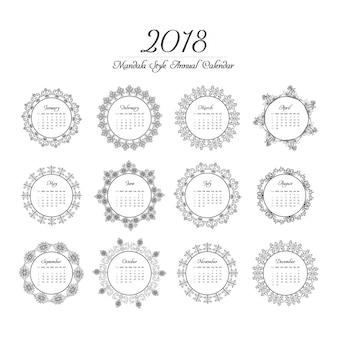 Projeto de mandala do calendário 2018