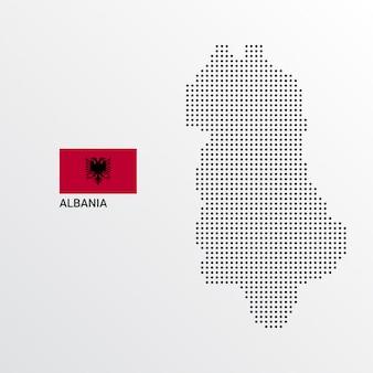 Projeto de mapa da albânia com bandeira e vetor de luz de fundo