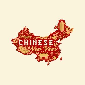 Projeto de mapas do ano novo chinês, estilo de linha desenhada à mão com cor digital,