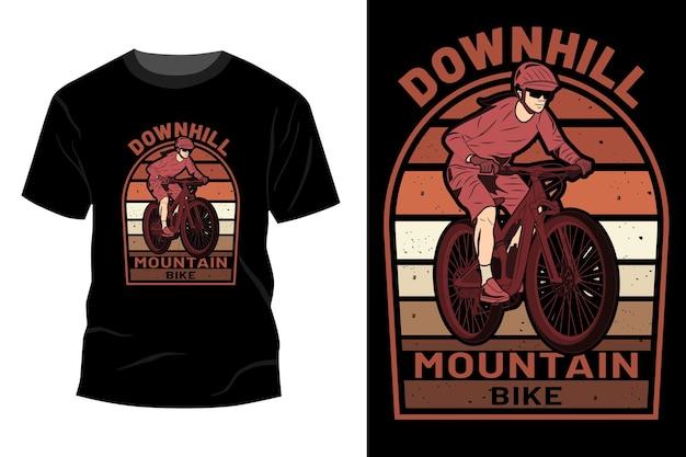 Projeto de maquete de camiseta de mountain bike downhill retro vintage