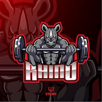 Projeto de mascote de barbela de músculo rinoceronte