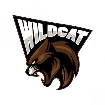 Projeto de mascote de esporte gato selvagem