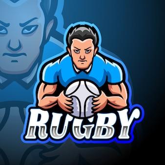 Projeto de mascote de logotipo de esporte de rugby