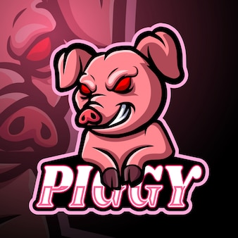 Projeto de mascote de logotipo esport de porco